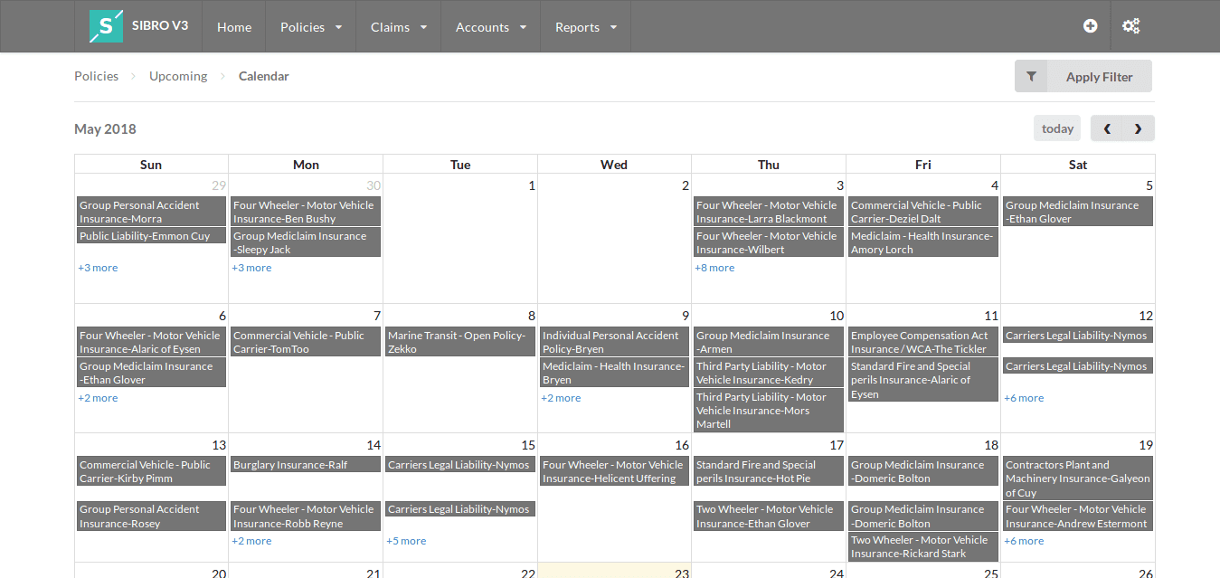 software listing out upcoming renewals in calendar